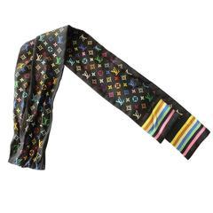 Louis Vuitton Multicolor Black Silk Twilly Scarf