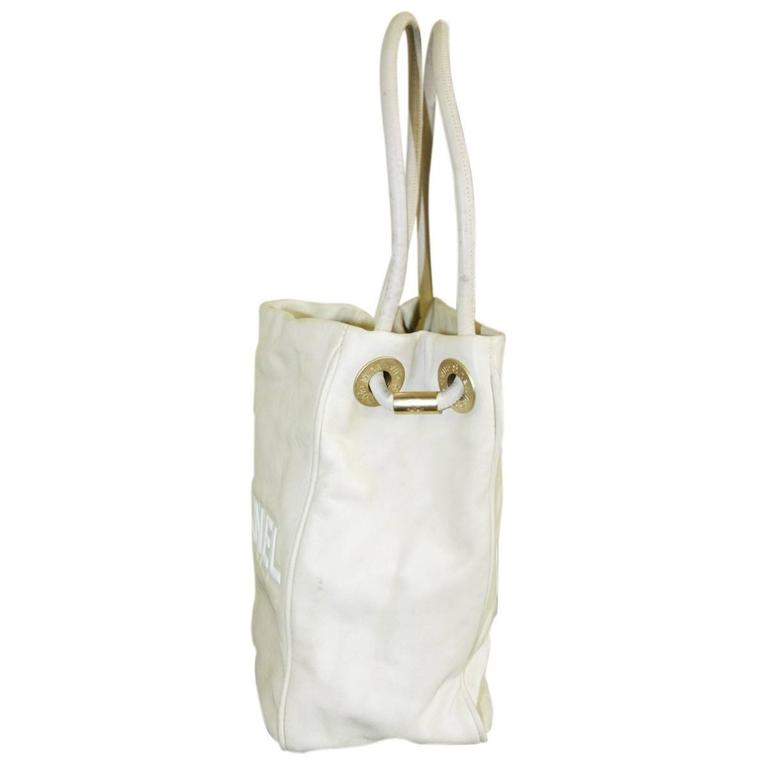 Chanel Tan and White Lambskin Camillia Flower Logo Tote Bag 3