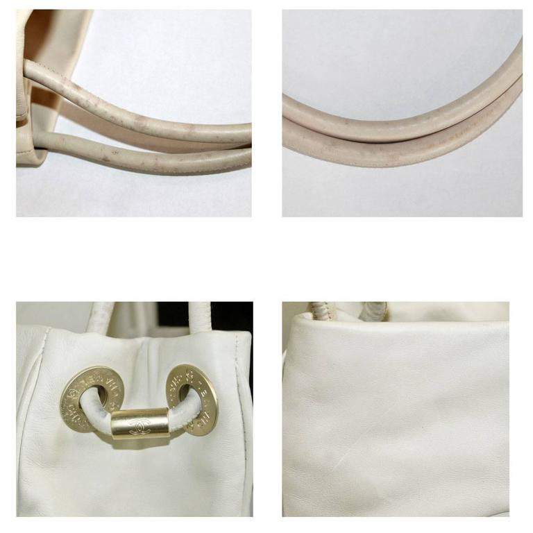 Chanel Tan and White Lambskin Camillia Flower Logo Tote Bag For Sale 1