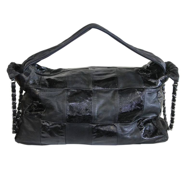 Chanel Black Lambskin Quilted Shiny Leather No. 11 Hobo Bag with SHW Chain 2