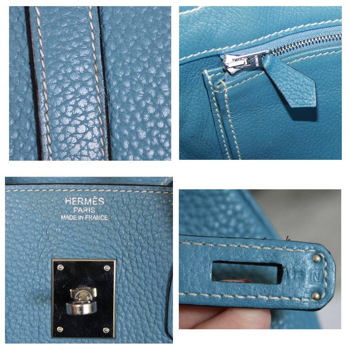 "herme bag - Hermes Blue Jean Birkin 35 Palladium Hardware ""N"" Stamp Togo ..."