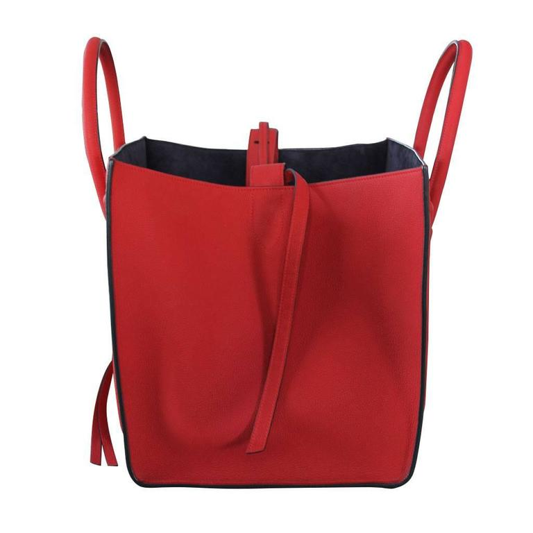 Celine Phantom Red Leather Limited Edition Luggage Tote Bag In Good Condition For Sale In Boca Raton, FL