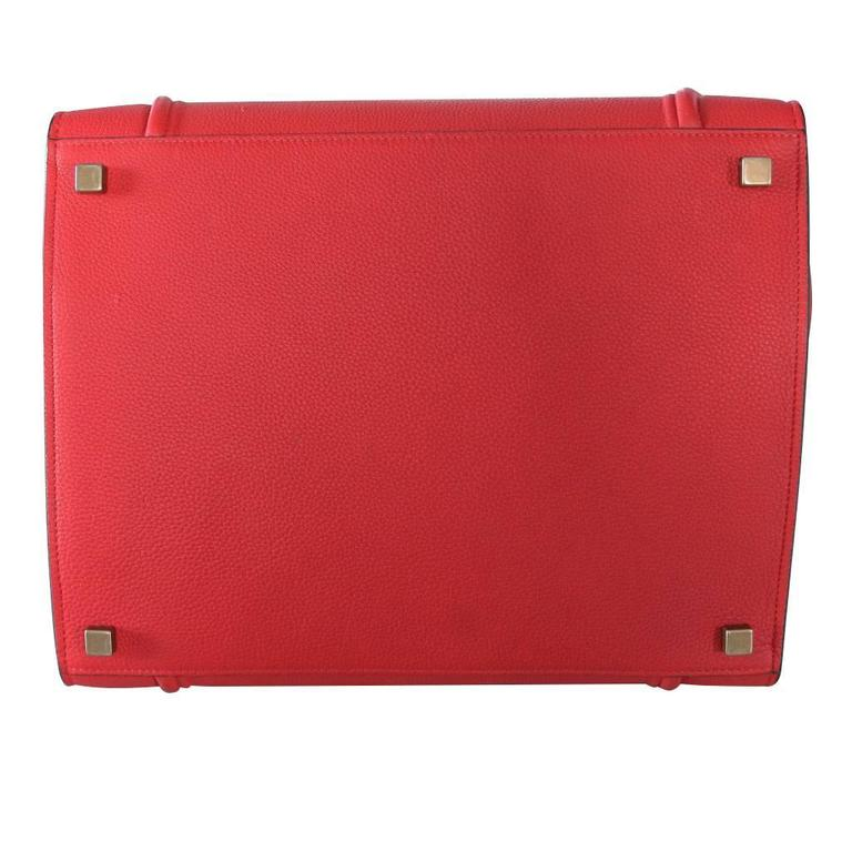 Women's Celine Phantom Red Leather Limited Edition Luggage Tote Bag For Sale
