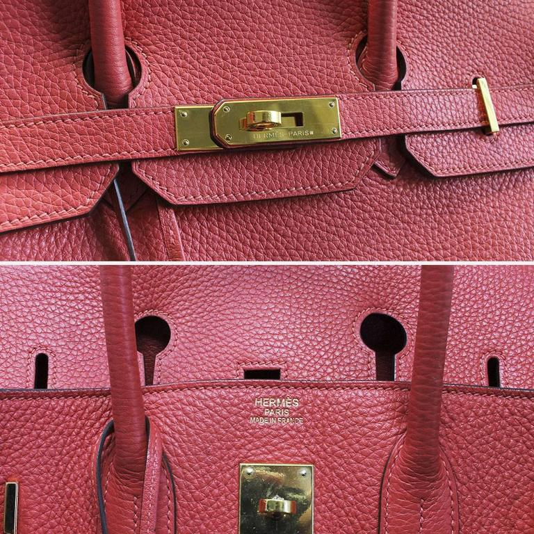 Hermes Birkin 35 Rose Jaipur Togo Leather Handbag Purse in Dust Bag For Sale 2