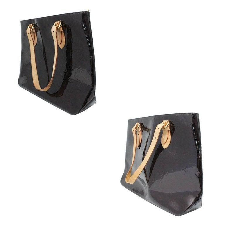Black Louis Vuitton Brentwood Amarante Vernis Tote Bag For Sale