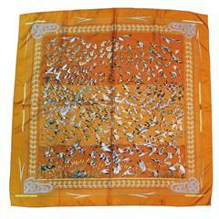Hermes 100% Silk Orange Libres Comme L'Air Geese Scarf