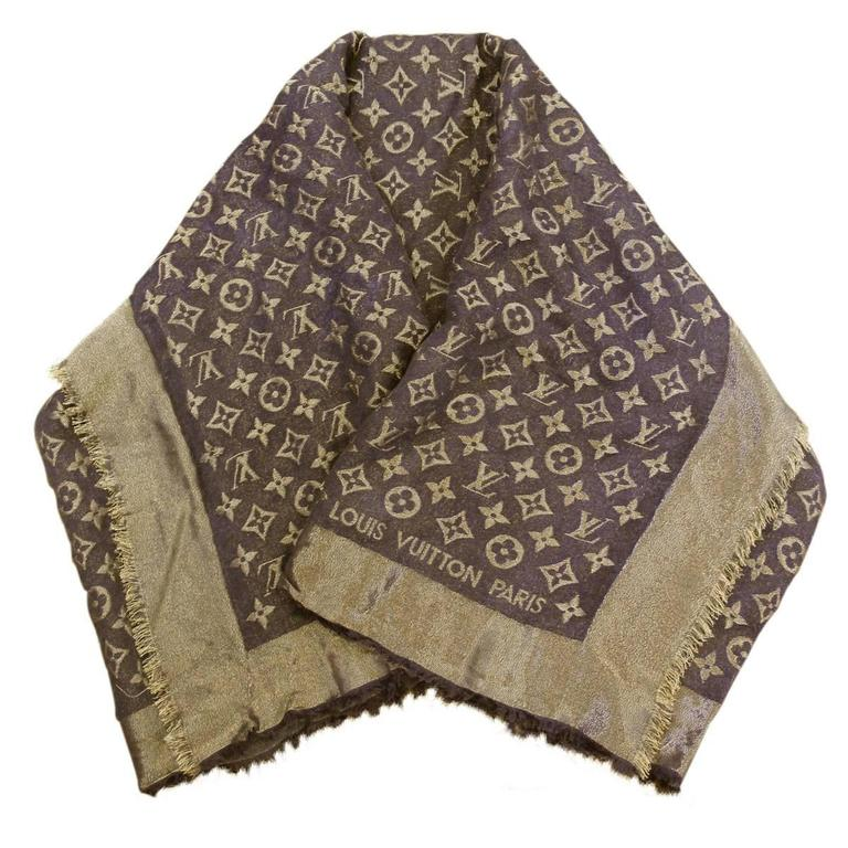 Louis Vuitton Monogram Shine Shawl Brown Gold Scarf At 1stdibs