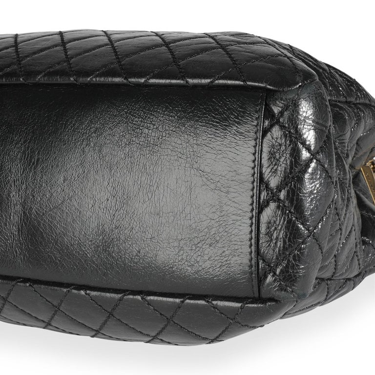 Chanel Black Quilted Boy Front Pocket Shopping Bag For Sale 5