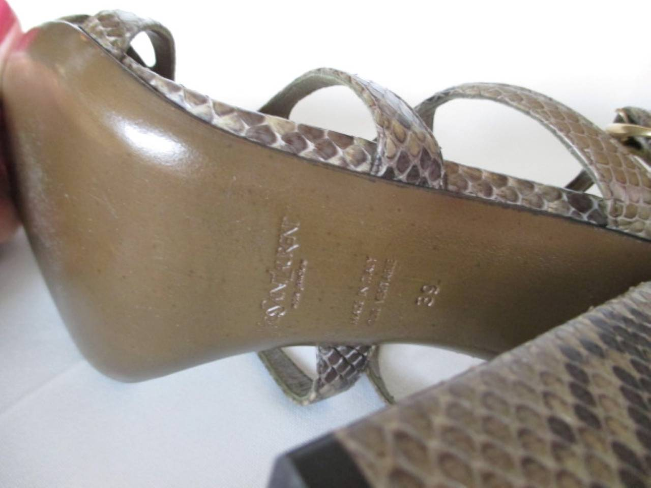 Black Yves saint Laurent snake leather shoes For Sale