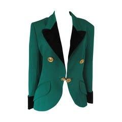 Stunning green wool/black velvet Celine blazer