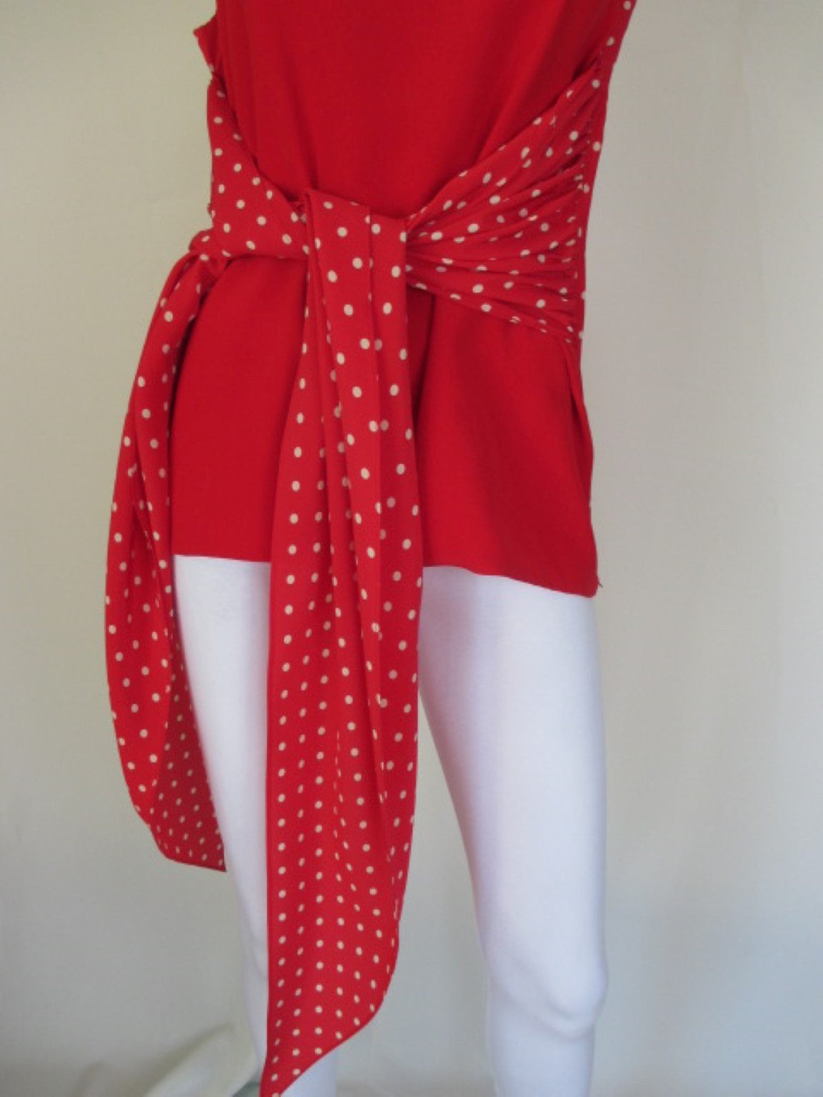 Red Valentino polka dot red silk blouse  For Sale