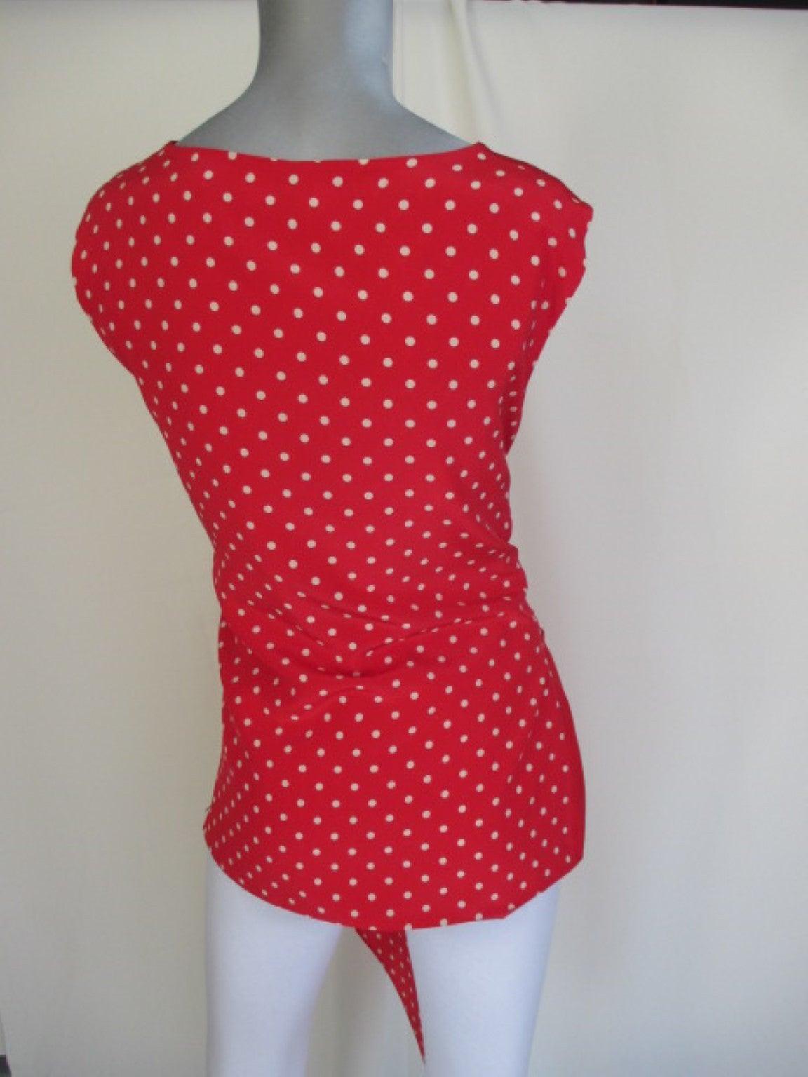 Women's Valentino polka dot red silk blouse  For Sale