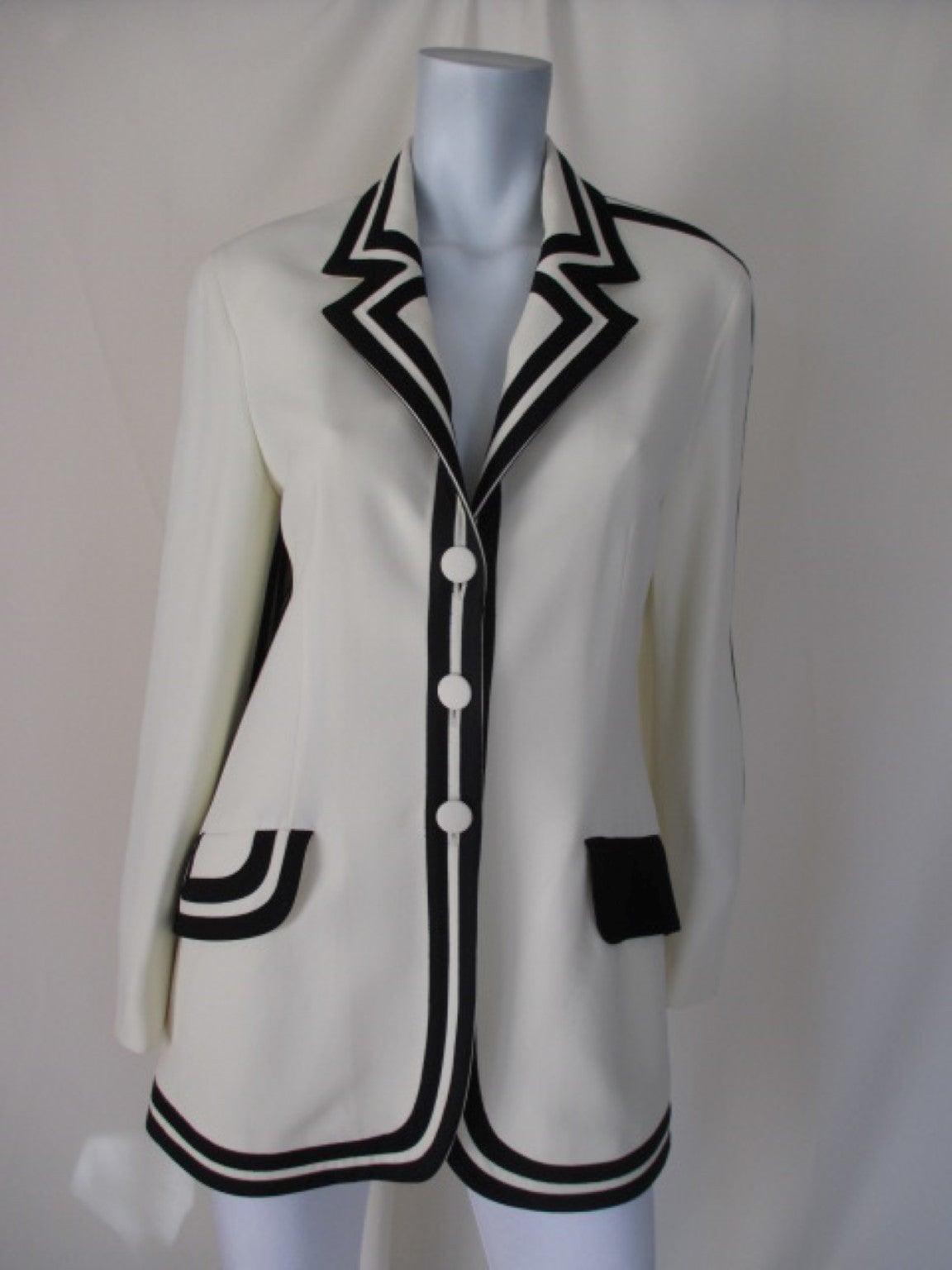 "vintage Moschino ""Cheap & Chic""white blazer with black trim 4"