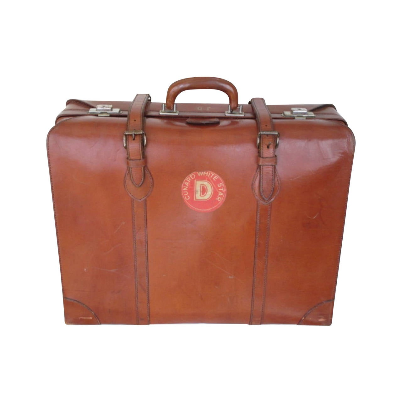1930's brown leather suitcase with Cunard White Star D-Deck label ...