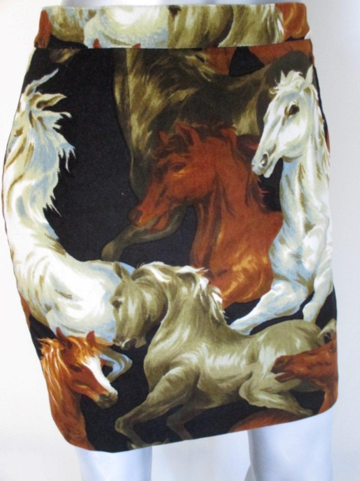 90's rare Kenzo velvet skirt with wild horses print 5
