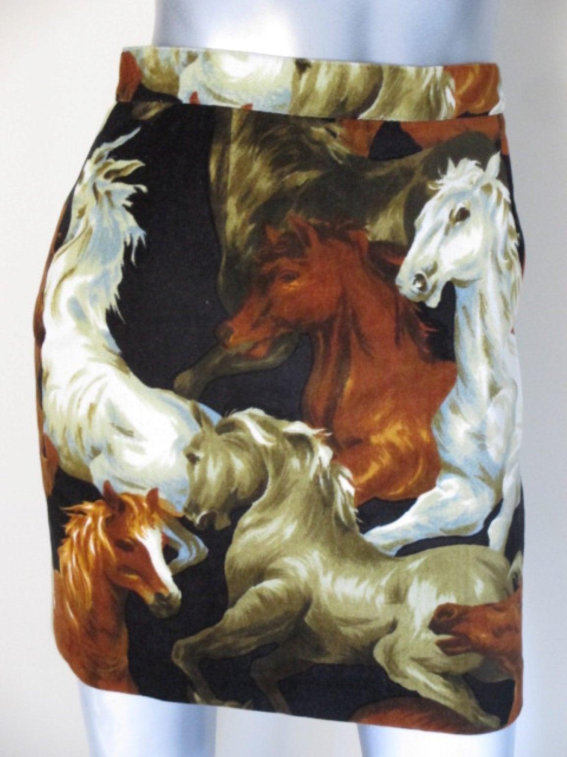90's rare Kenzo velvet skirt with wild horses print 6