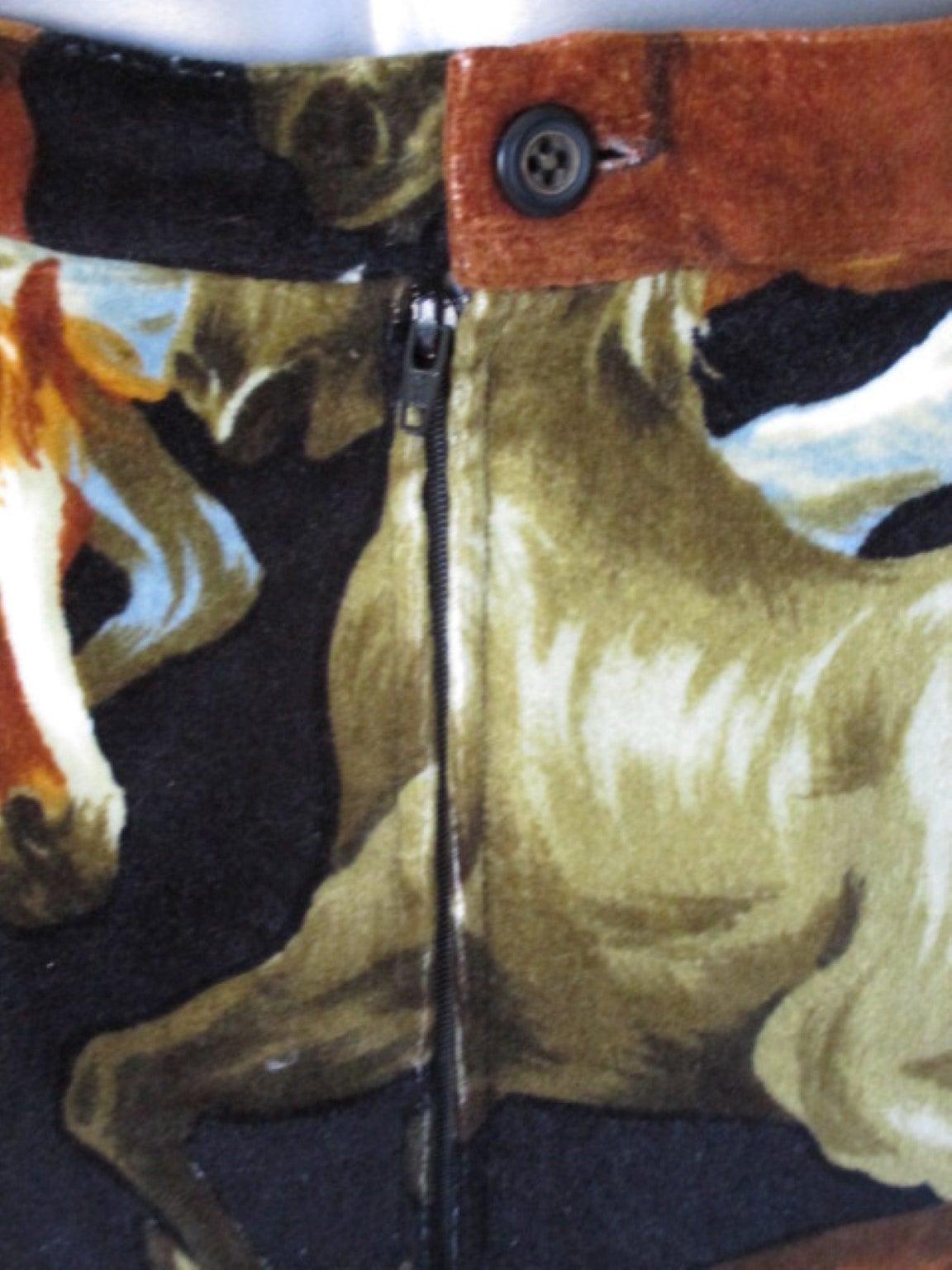 90's rare Kenzo velvet skirt with wild horses print 4
