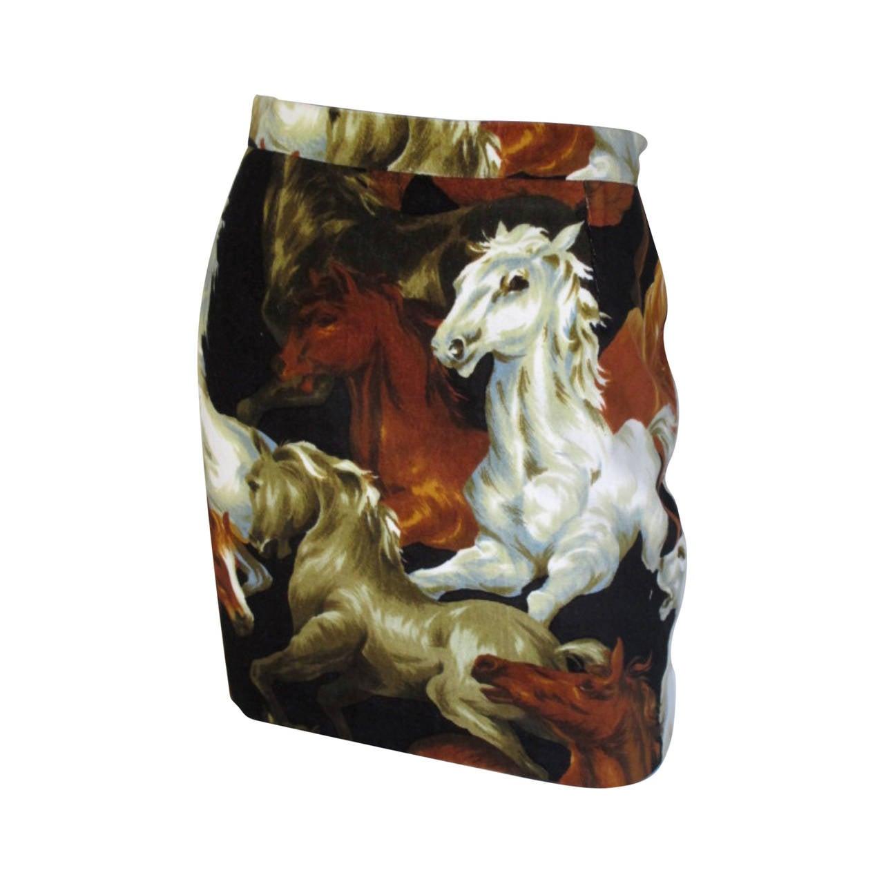 1990s Kenzo velvet skirt with wild horses print