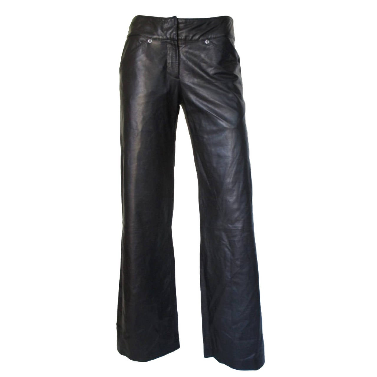 "Gianni Versace ""Classic"" black soft leather trousers 1"