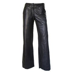 "Gianni Versace ""Classic"" black soft leather trousers"