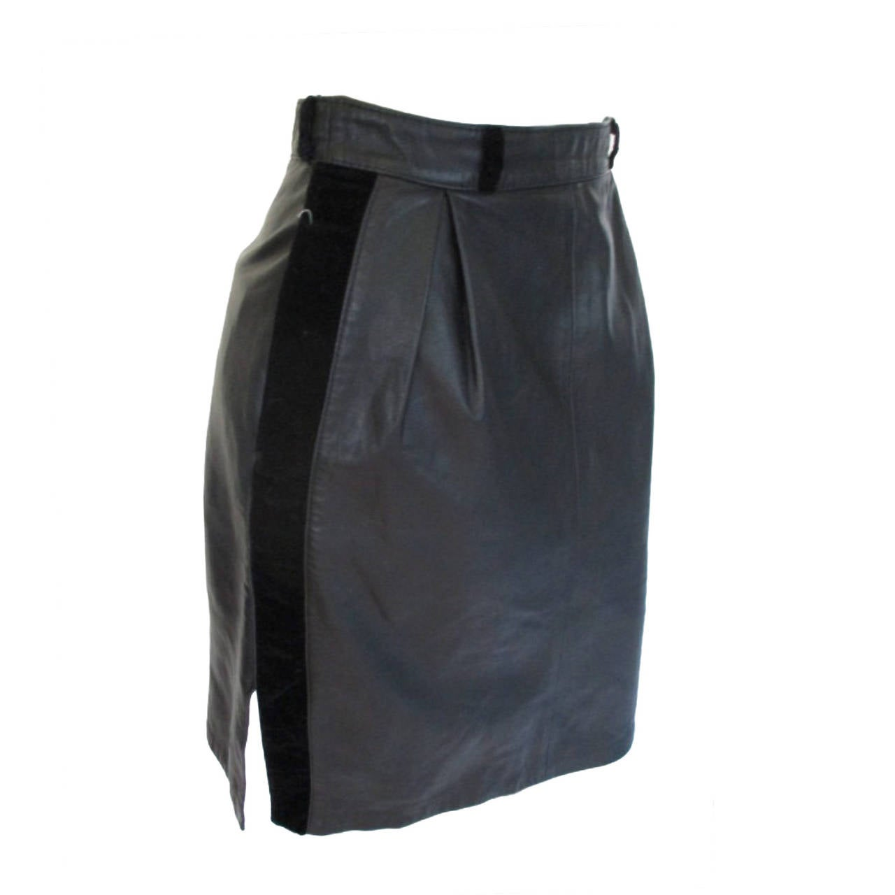 Valentino black leather skirt with velvet trim