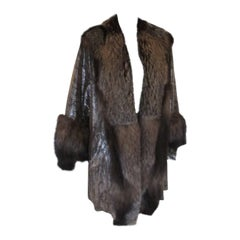 printed Silver Leather Coat with Fox fur