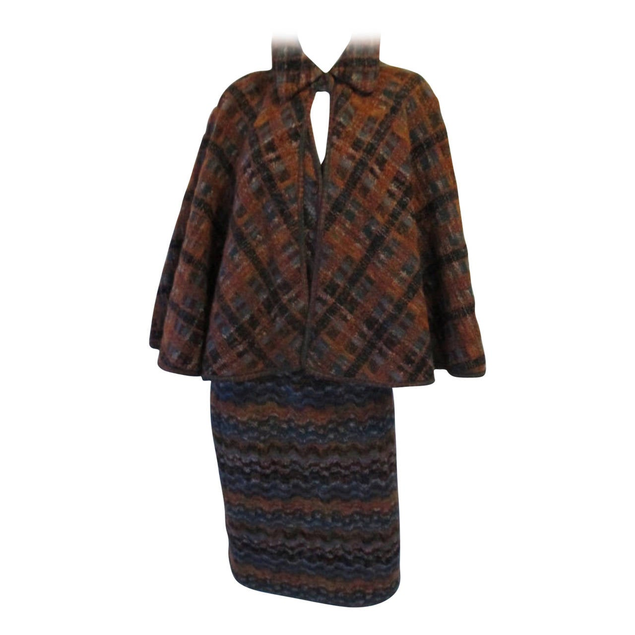 Missoni two piece wool cape top with skirt outfit