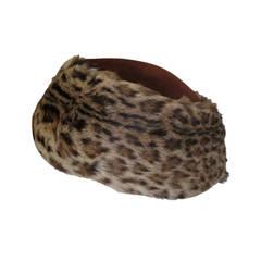 40's Leopard fur print pillbox hat