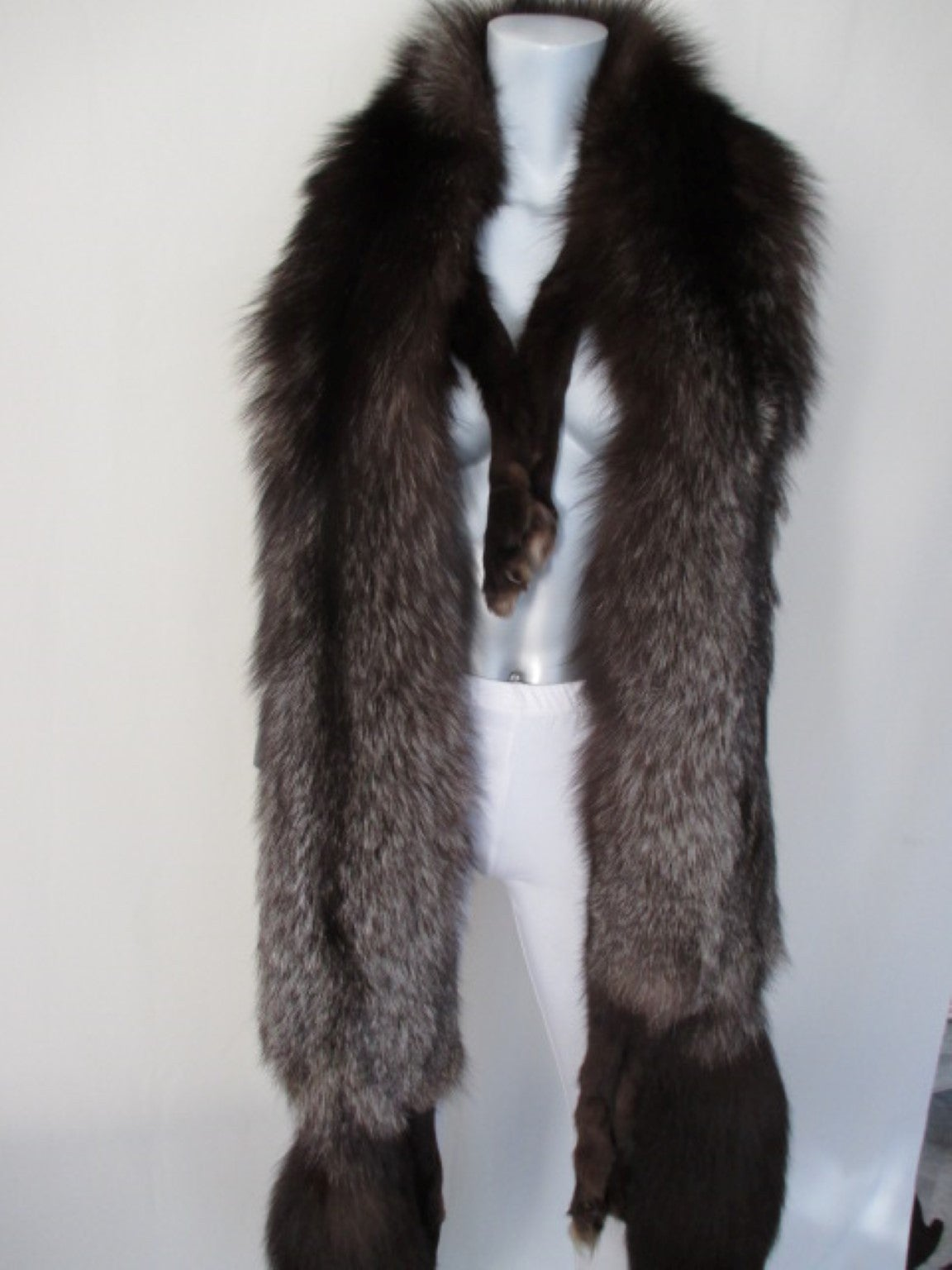 Black Stunning Silver fox fur stole For Sale