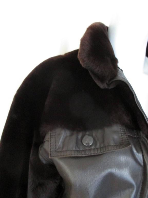 Christian Dior belted brown leather and fur jacket 7