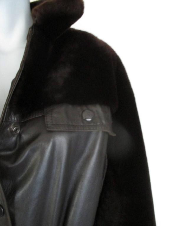 Christian Dior belted brown leather and fur jacket 4