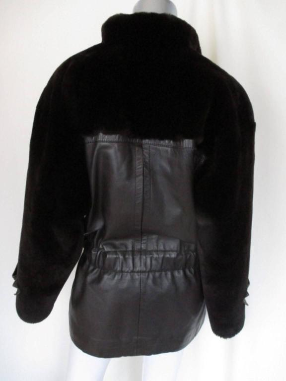 Christian Dior belted brown leather and fur jacket 3