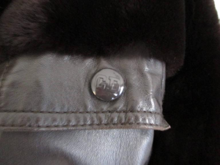 Christian Dior belted brown leather and fur jacket 5