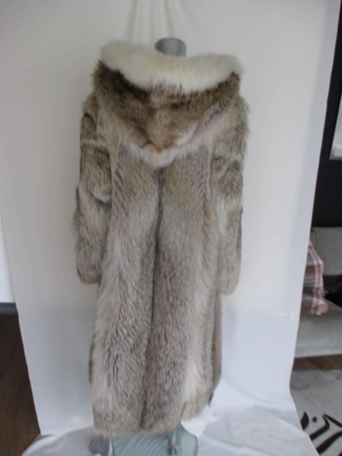 Sable Fur Coat >> rare wolf/coyote fur coat with huge hood at 1stdibs
