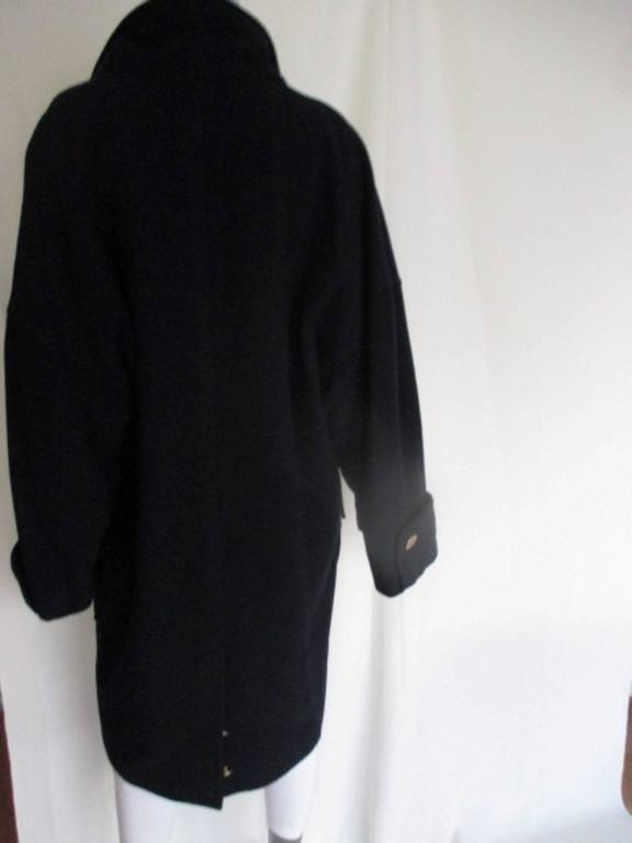 Black Chanel blue wool coat with signature coco buttons