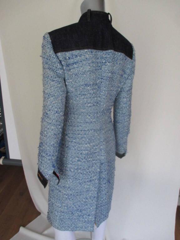 Gray Dolce & Gabbana blue wool/denim coat For Sale