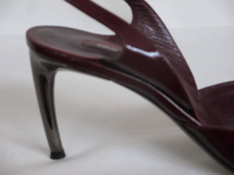 Black sergio rossi red bordeaux slingback patent leather pump For Sale