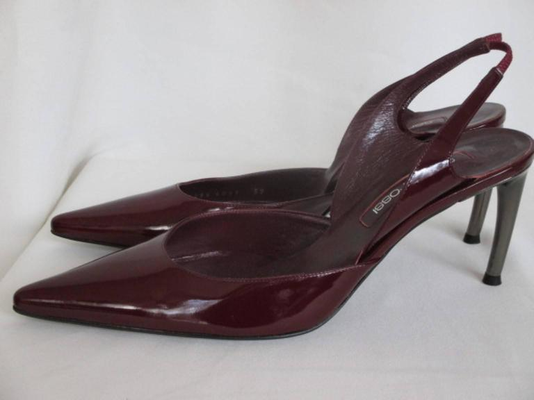 sergio rossi red bordeaux slingback patent leather pump For Sale 1