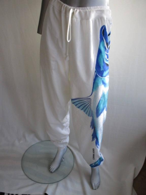kansai yamamoto pants with blue fish, 1980s For Sale 2