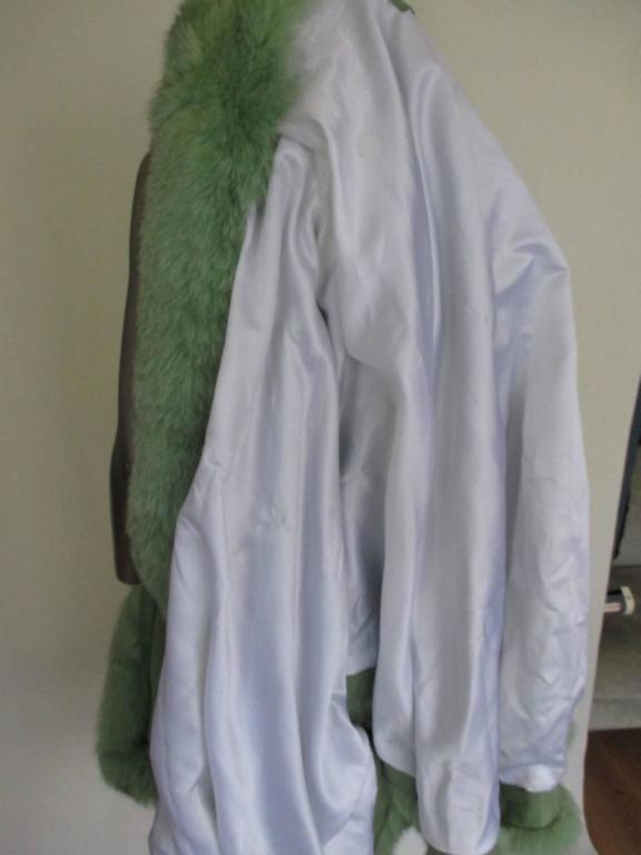 lime green soft suede leather fox fur trimmed cape 5