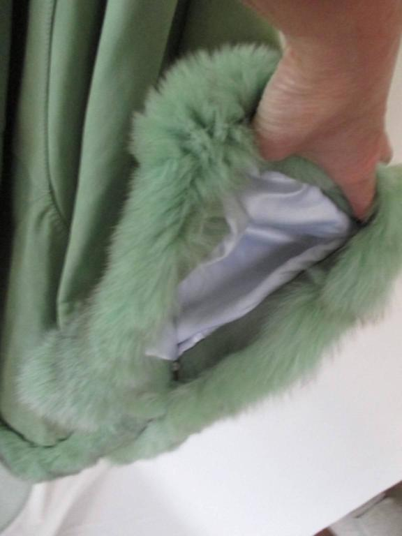 lime green soft suede leather fox fur trimmed cape 7