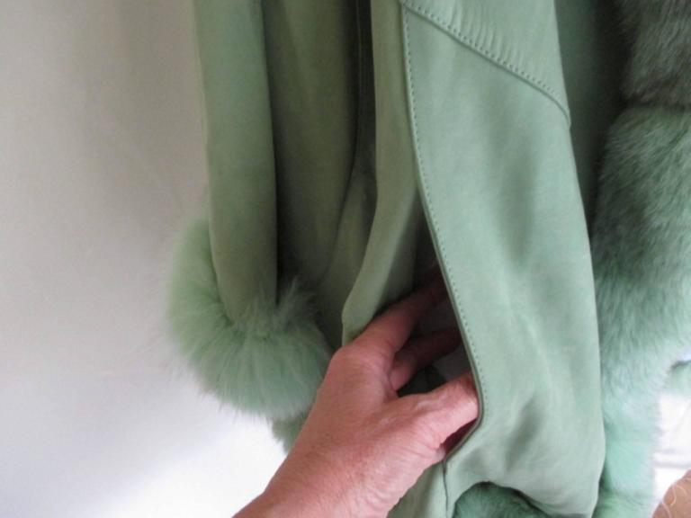 lime green soft suede leather fox fur trimmed cape 2