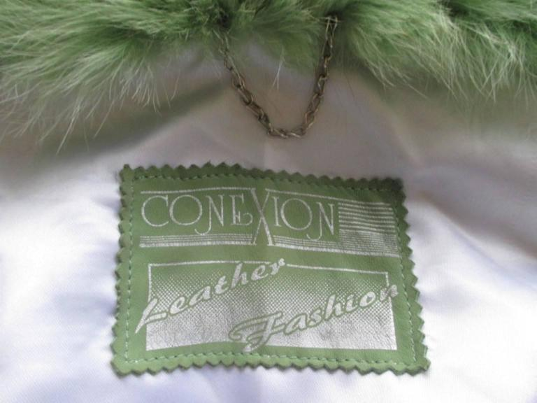 lime green soft suede leather fox fur trimmed cape 6