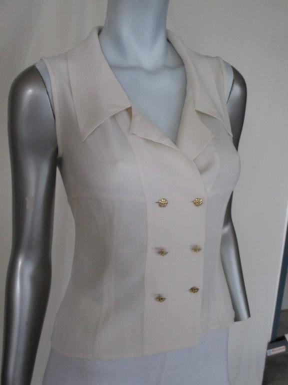chic chanel sleeveless blouse size xs-s 6