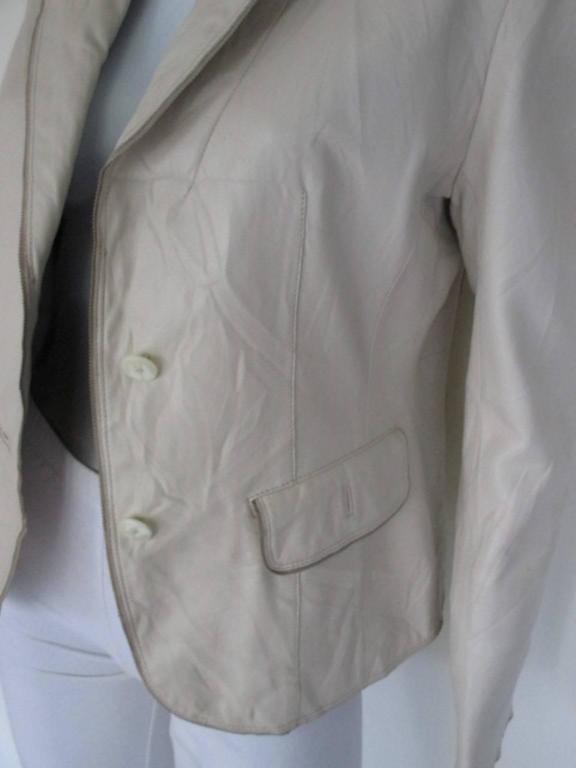 Gray Balmain Paris soft leather jacket For Sale