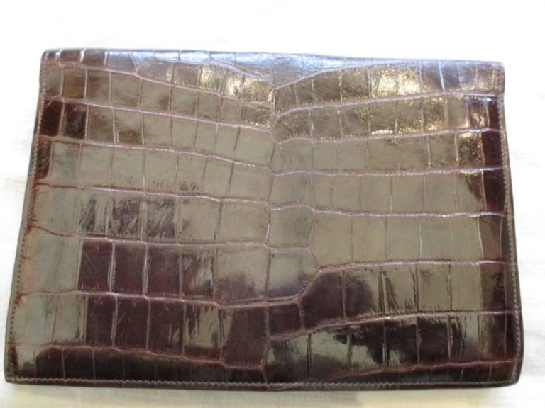 rare hermes crocodile pan clutch with sterling silver hardware 2