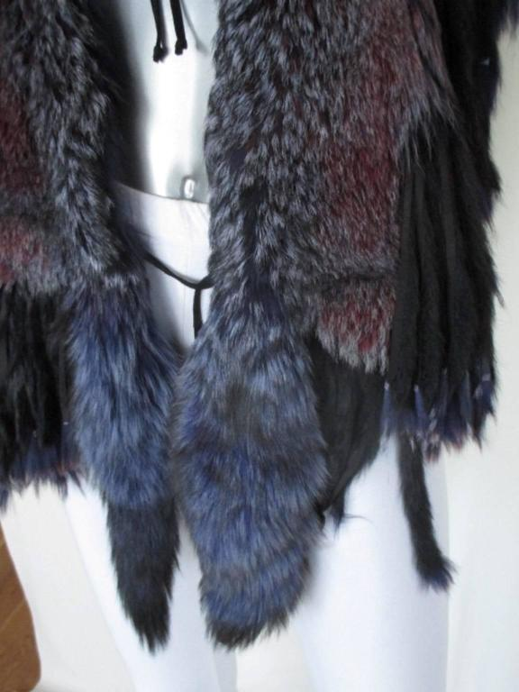 Black fabulous fringed dyed fox fur stole For Sale