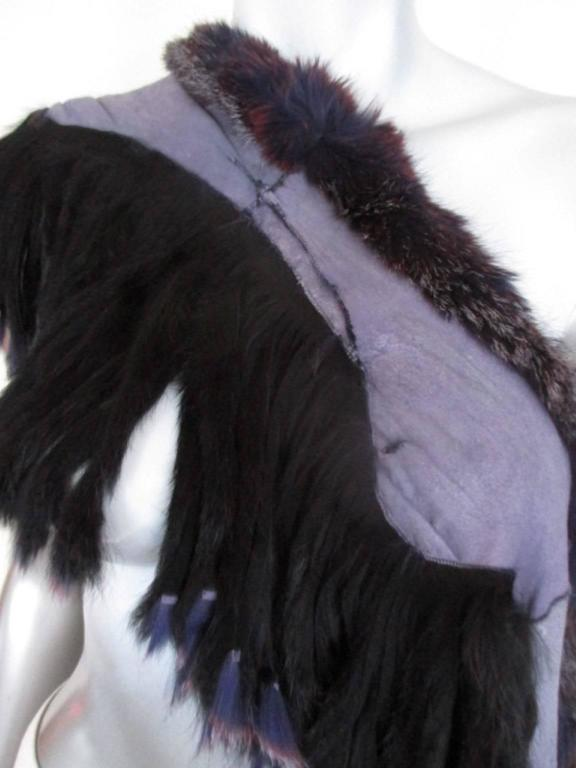 fabulous fringed dyed fox fur stole For Sale 3