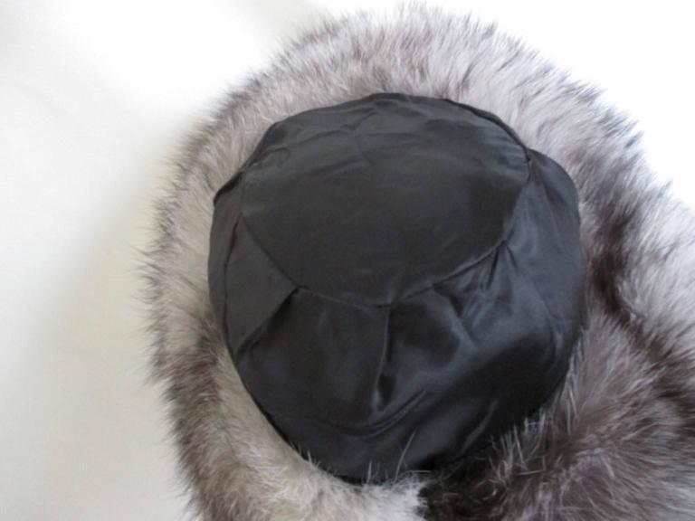 Women's or Men's Snow White Fox Fur Hat With Black Top For Sale