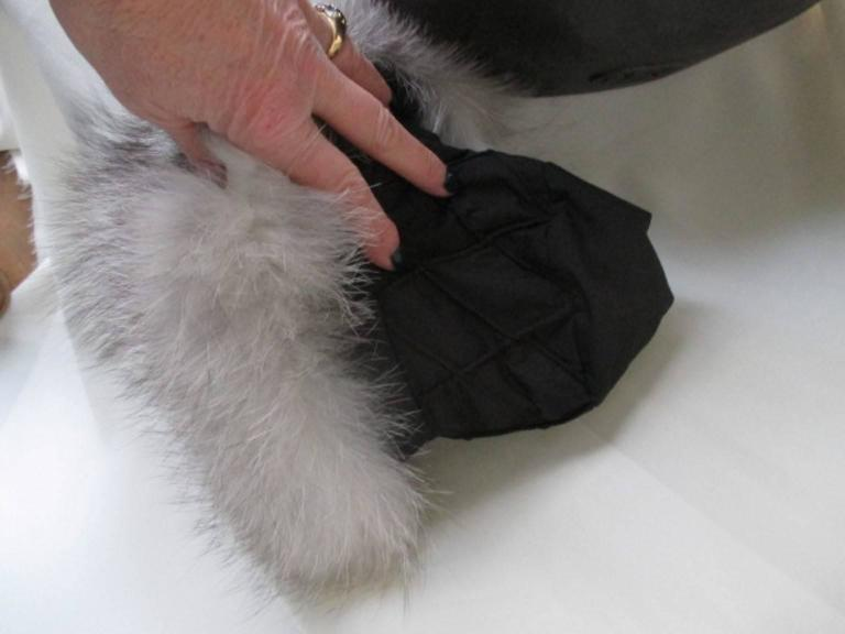 Snow White Fox Fur Hat With Black Top For Sale 1